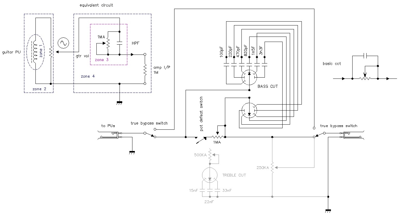 Passive Bass Cut Pedal Click Here For A Pdf Version Of Theschematic Treble Cct Which I Ignored As It Is Assumed The Guitar Already Has Tone Controls On Schematic Or To Download Hi Res
