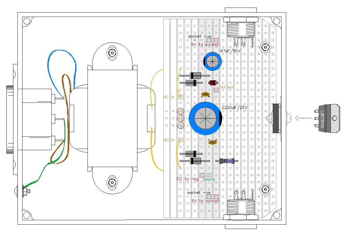 9 Volt Guitar Pedal Regulated Power Supply Easy Wiring Diagram Note That The White Centre Tap Wire Below Pic On Secondary Winding Of Transformer Is Not Used And Should Be Insulated With Heatshrink