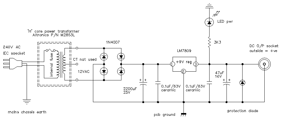 9 volt guitar pedal regulated power supply Diy Pedal Schematics on mxr dyna comp schematic, fender tremolo schematic, guitar delay schematic, circuit diagram, functional flow block diagram, one-line diagram, diy pedal power supply, tone control schematic, piping and instrumentation diagram, buffer boost guitar schematic, technical drawing, diy tremolo pedal, tube map, phaser schematic, npn schematic, block diagram, diy pedal box, diy reverb pedal,